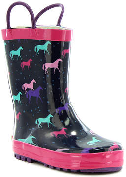 Western Chief Navy & Pink Horse Rain Boot