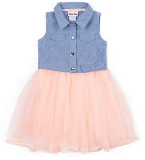 Little Lass Girls 4-6x Chambray Flocked Tulle Dress
