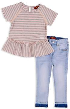 7 For All Mankind Girls' Striped Ruffled Tee & Light-Wash Skinny Jeans Set - Baby