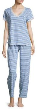 Karen Neuburger Lace-Trimmed Striped Tee and Pants Pajama Set