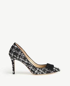 Ann Taylor Jolie Tweed Bow Pumps
