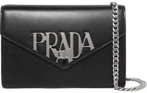 Prada Logo Liberty Leather Shoulder Bag - Black
