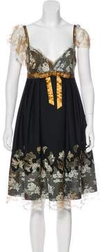 Anna Sui Lace Trim Ruffled Dress