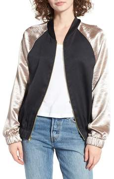 BP Babetown Colorblock Satin Bomber