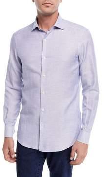 Ermenegildo Zegna Band-Collar Cotton-Linen Shirt, Light Blue