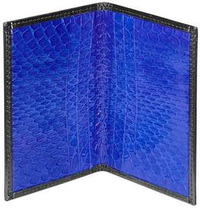 Aspinal of London Double Fold Credit Card Case In Smooth Black Cobalt Snakeskin