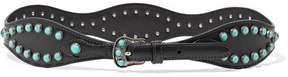 Prada Embellished Leather Waist Belt - Black