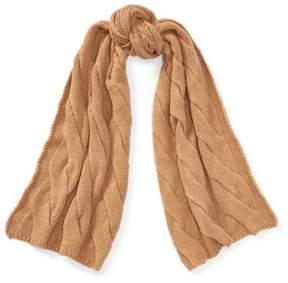 Ralph Lauren Cashmere-Wool Muffler Scarf Camel Melange One Size