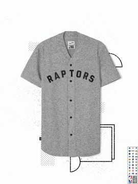 Frank and Oak Toronto Raptors Waffle-Knit Button-Up in Grey