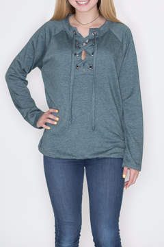 Cherish Lace Up Pullover Top