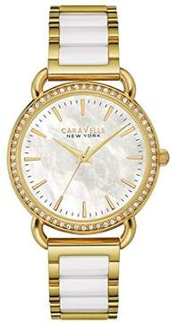Bulova Caravelle by 44L172 Ladies' New York White Ceramic Gold Tone Watch