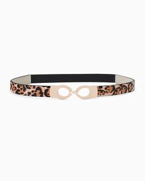 White House Black Market Leopard Printed Haircalf Skinny Stretch Belt