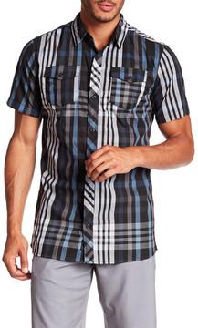 Burnside Short Sleeve Plaid Print Regular Fit Woven Shirt