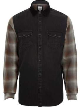 River Island Mens Black long check sleeve denim hybrid shirt