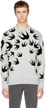 McQ Grey and Black Swallows Clean Sweatshirt