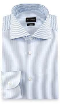 Ermenegildo Zegna Trofeo® Double-Stripe Dress Shirt, White/Blue