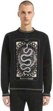 Roberto Cavalli Snake Printed Cotton Sweatshirt