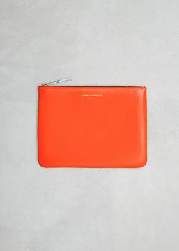 Comme des Garcons WALLET green / orange super fluo leather line zip pouch