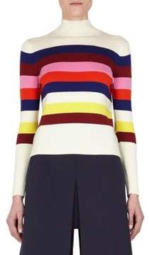 DELPOZO Striped Ribbed Sweater