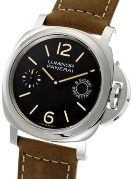 Panerai Luminor Marina PAM00590 Stainless Steel / Leather with Black Dial 44mm Mens Watch