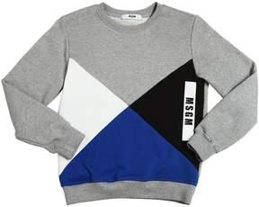 MSGM Geometric Patchwork Cotton Sweatshirt