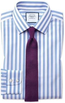 Charles Tyrwhitt Classic Fit Non-Iron Sky Blue Wide Bengal Stripe Cotton Dress Shirt Single Cuff Size 15.5/34