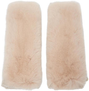 Yves Salomon Pink Cashmere and Fur Gloves