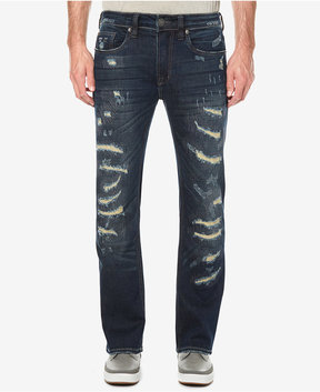 Buffalo David Bitton Men's Tinted Dark Blue Ripped Stretch Jeans
