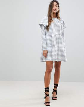 Fashion Union Skater Dress With Pephem In Check