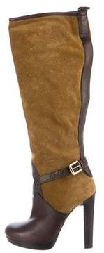 DSQUARED2 Suede Round-Toe Knee-High Boots
