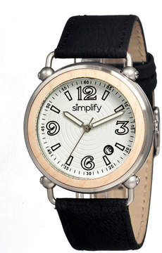 Simplify Mens The 1600 Wood-Bezel Leather-Band Watch With Date Sim1601
