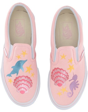 Vans Kids Classic Slip-On Pink/Metallic) Girls Shoes