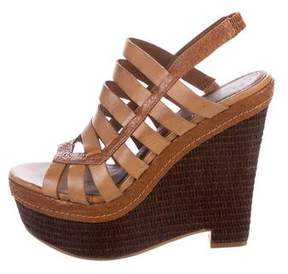 Elizabeth and James Leather Cage Wedges