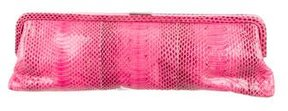 Michael Kors Large Snakeskin Frame Clutch - PINK - STYLE