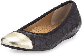 Neiman Marcus Saucy Quilted Leather Flat, Black