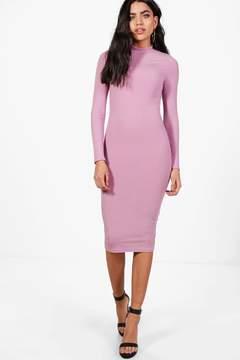 boohoo Flo Ribbed High Neck Long Sleeved Midi Dress