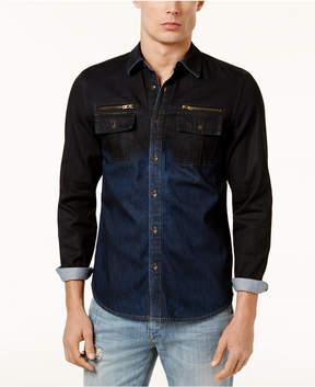 GUESS Men's Two-Tone Slim Fit Denim Shirt
