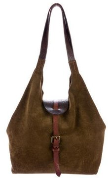 Henry Beguelin Leather-Trimmed Suede Hobo
