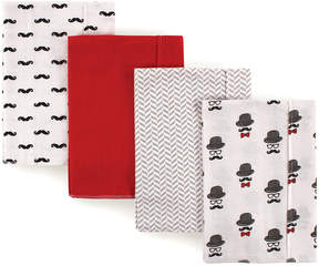 Hudson Baby White & Red Mustache Burp Cloth - Set of Four