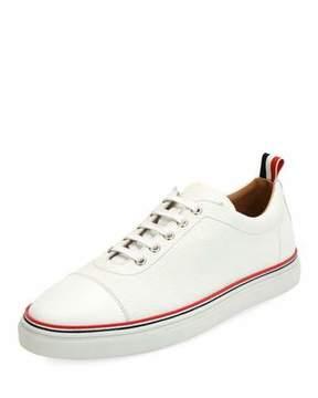 Thom Browne Cap-Toe Striped-Trim Low-Top Leather Sneaker