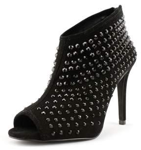 Michael Kors Dani Open Toe Studded Bootie Women US 9 Black Bootie