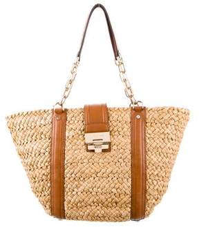 Michael Kors Michael Leather-Trimmed Straw Tote