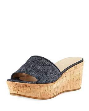 Sesto Meucci Tarie Quilted Denim Wedge Slide Sandal