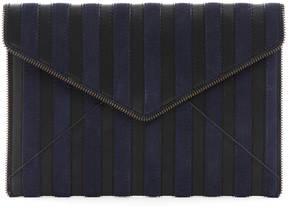 Rebecca Minkoff Navy Suede Stripe Leo Clutch - NAVY - STYLE