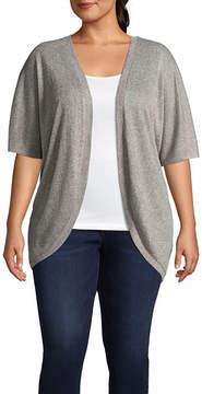 Boutique + + Short Sleeve Cardigan - Plus