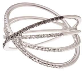 Ef Collection 14K White Gold White & Black Diamond Sunburst Fade Ring - Size 6 - 0.30 ctw
