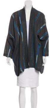 eskandar Striped Long Sleeve Cardigan