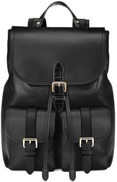 Aspinal of London | Oxford Backpack In Smooth Black Deep Shine Black Croc | Black deep shine croc smooth black