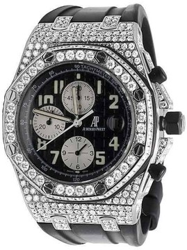 Audemars Piguet Royal Oak Offshore 15400ST.OO.122 Rubber with 10.5ct Diamond Mens 42mm Watch