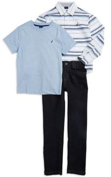 Nautica Little Boy's Striped Sportshirt, Logo Tee and Jeans Set